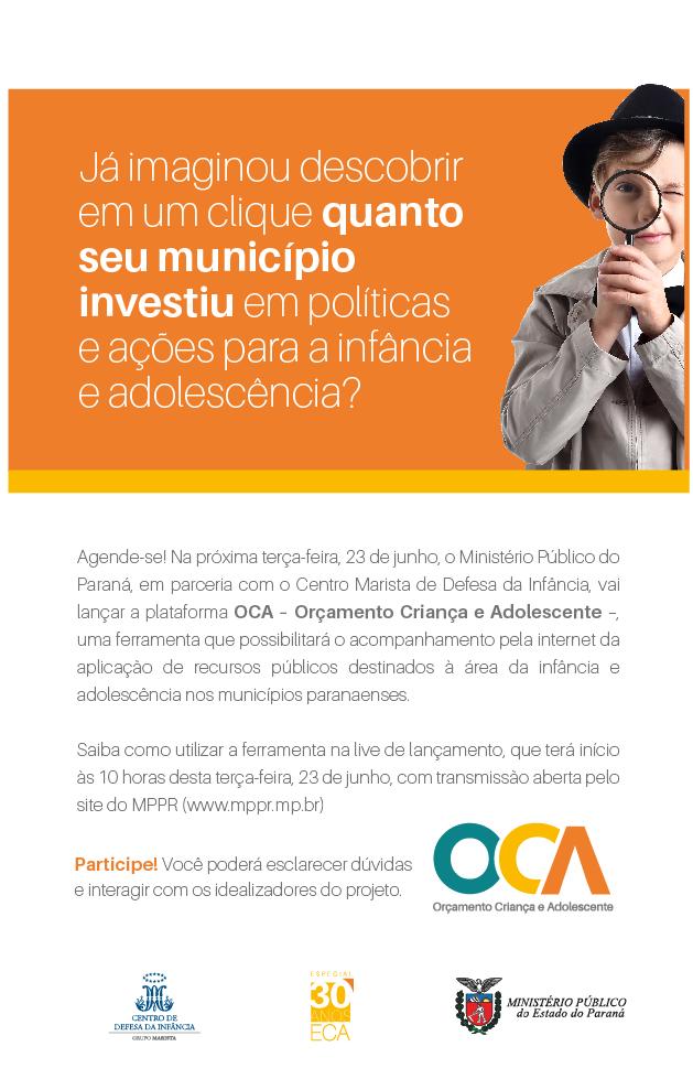 Convite: Live do OCA - Orçamento Criança e Adolescente
