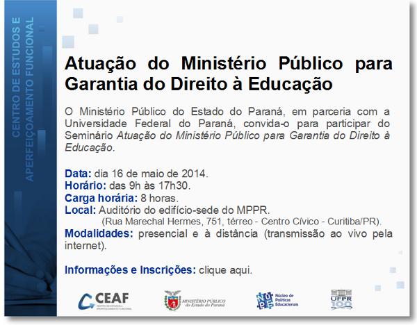 Convite: Atuação do Ministério Público para garantia do Direito à Educação