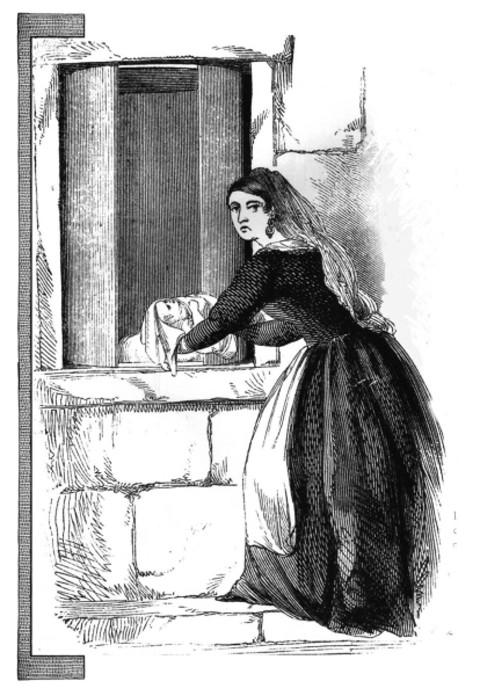 Desenho representa mulher abandonando (expondo na linguagem da época) uma criança na Roda dos Injeitados