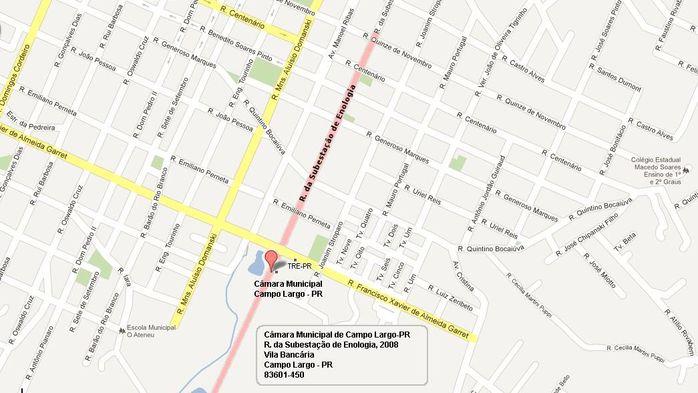 Google Maps: Câmara Municipal de Campo Largo-PR
