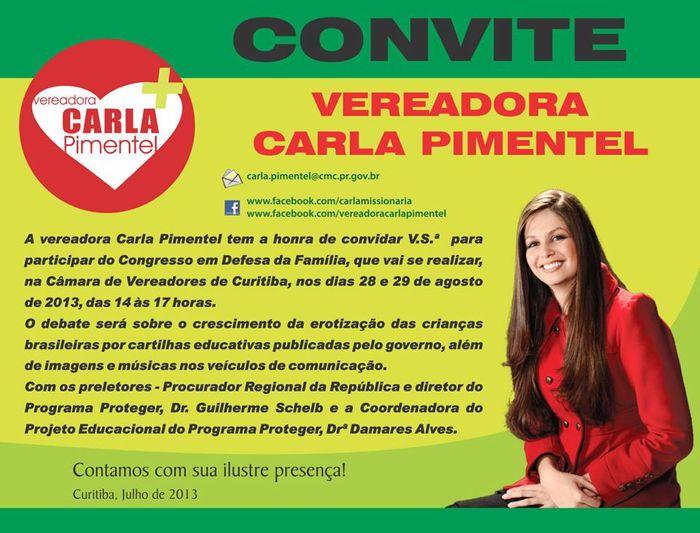Vereadora Carla Pimentel - Convite
