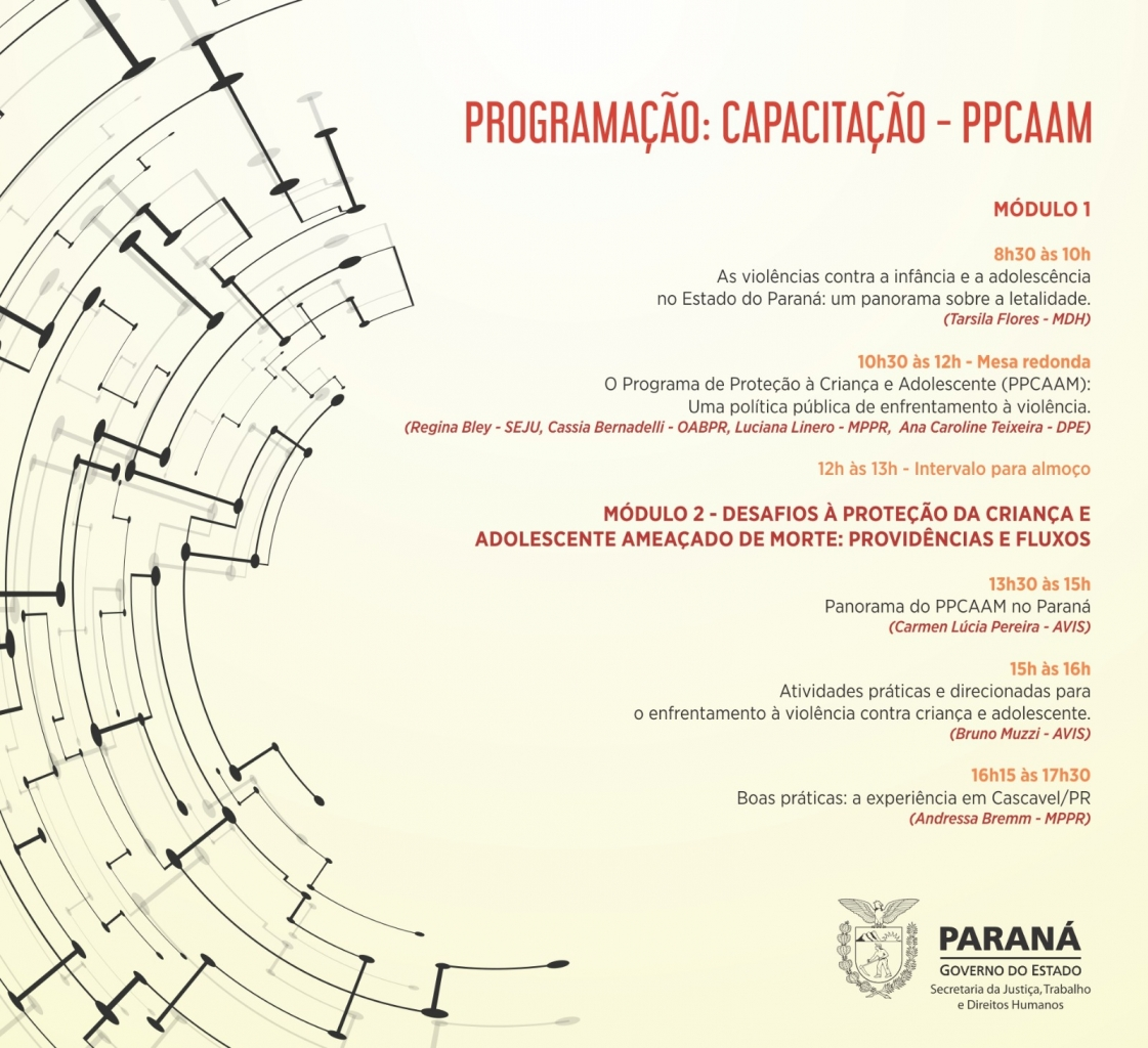 PPCAAM-PR - Programa de Proteção a Crianças e Adolescentes Ameaçados de Morte (Paraná) - Programação